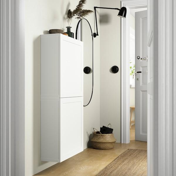 BESTÅ Veggskap med 2 dører, hvit/Hanviken hvit, 60x22x128 cm