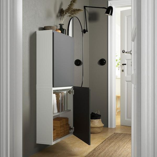 BESTÅ Veggskap med 2 dører, hvit/Västerviken mørk grå, 60x22x128 cm