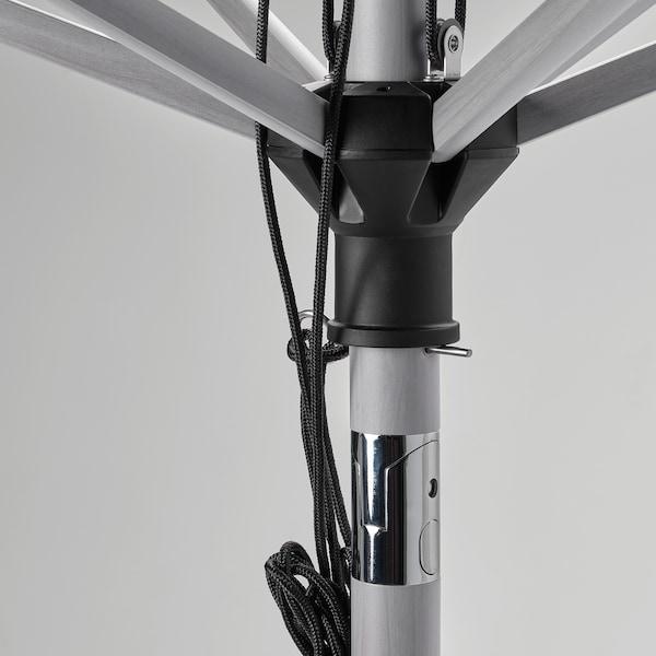 BETSÖ / LINDÖJA Parasoll, grå tremønstret/beige, 300 cm