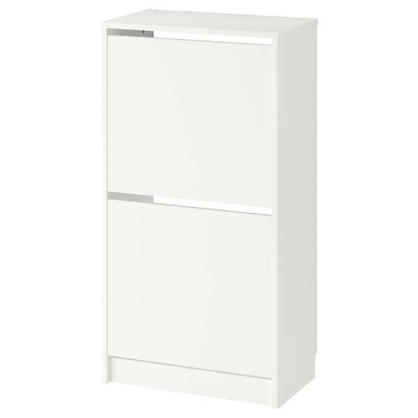 BISSA Skoskap med 2 rom, hvit, 49x93 cm