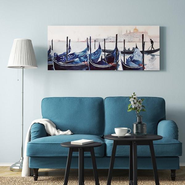 BJÖRKSTA Bilde med ramme, Morning in Venezia/aluminiumsfarge, 140x56 cm