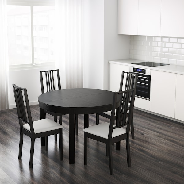 BJURSTA Uttrekkbart bord, brunsvart, 115/166 cm