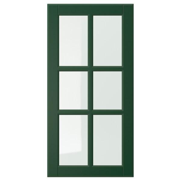 BODBYN Vitrinedør, mørk grønn, 40x80 cm
