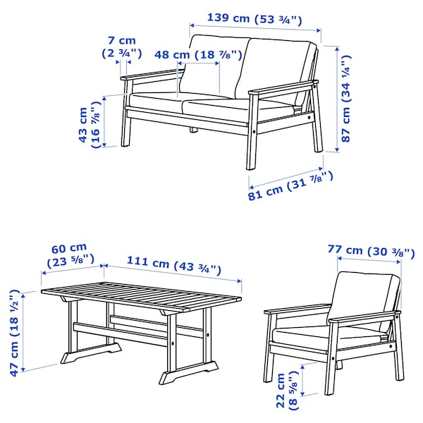 BONDHOLMEN 4-seters møbelgruppe, utendørs, gråbeiset/Frösön/Duvholmen beige