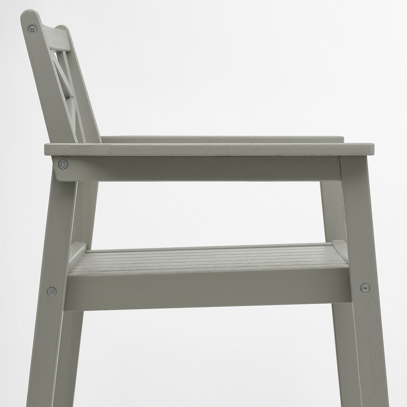 BONDHOLMEN Bord + 6 stoler m armlener, utend, gråbeiset/Kuddarna beige