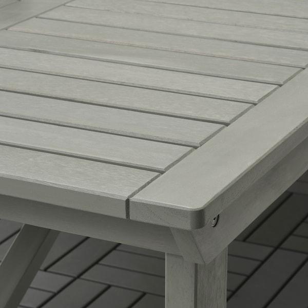 BONDHOLMEN Bord + 6 stoler m armlener, utend, gråbeiset/Kuddarna grå
