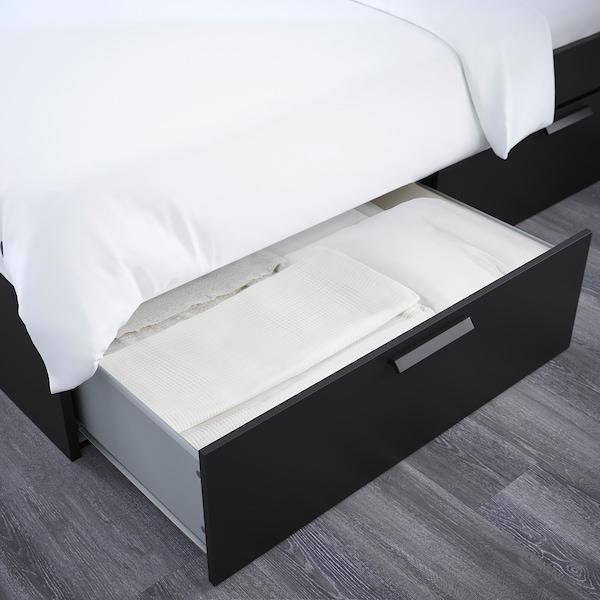 BRIMNES Seng med oppbevaring og hodegavl, svart/Luröy, 160x200 cm