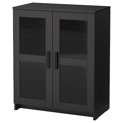 BRIMNES Skap med dører, glass/svart, 78x95 cm