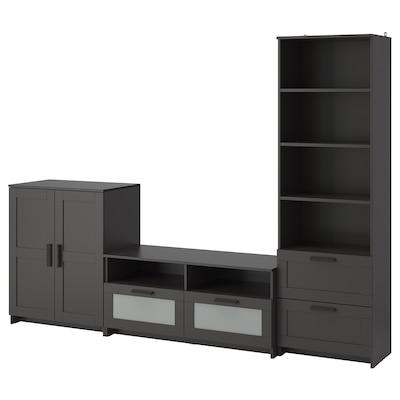 BRIMNES Tv-møbel, kombinasjon, svart, 258x41x190 cm