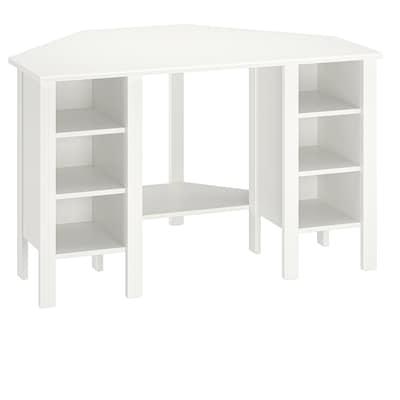 BRUSALI Hjørnearbeidsbord, hvit, 120x73 cm