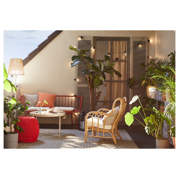 BRUSEN 3-seters sofa, utendørs rød 146 cm 64 cm 75 cm 120 cm 52 cm 42 cm