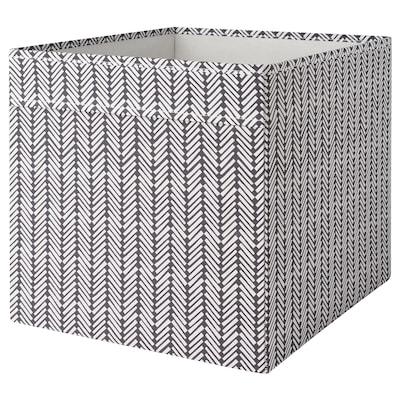 DRÖNA Boks, svart/hvit mønstret, 33x38x33 cm