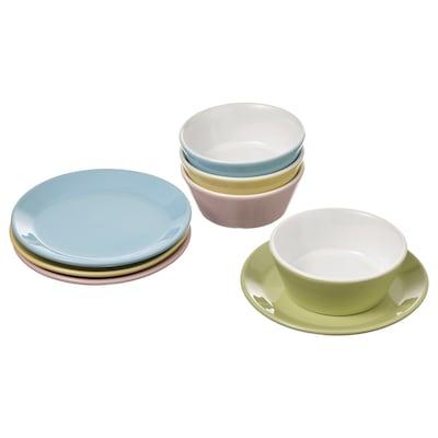 DUKTIG Lekesett, tallerken/skål, 8 deler, flere farger