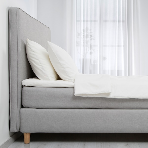 DUNVIK Kontinentalseng, Hyllestad fast/Tussöy lys grå, 140x200 cm