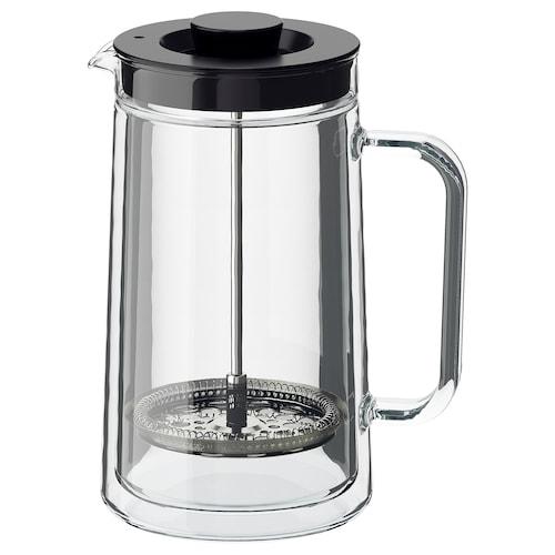 EGENTLIG kaffe-/tepresse med doble vegger/klart glass 21 cm 0.9 l