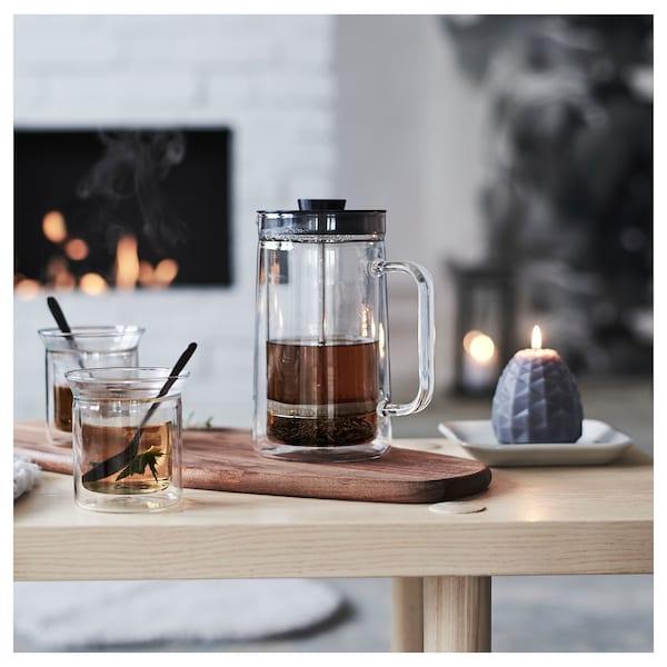 EGENTLIG Kaffe-/tepresse, med doble vegger/klart glass, 0.9 l