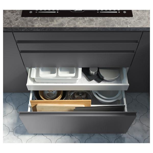 EKBACKEN Spesialtilpasset benkeplate, mørk grå marmormønstret/laminat, 30-45x2.8 cm
