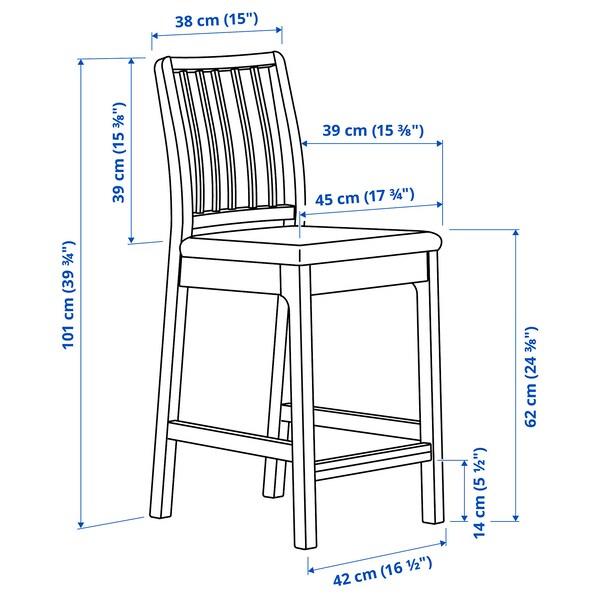 EKEDALEN Barstol, brun/Orrsta lys grå, 62 cm
