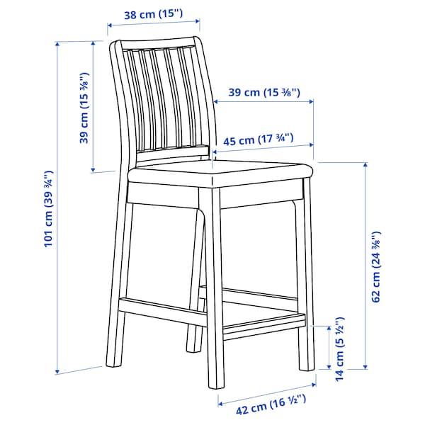 EKEDALEN Barstol, hvit/Orrsta lys grå, 62 cm