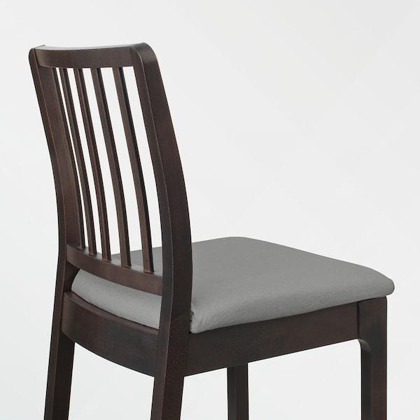 EKEDALEN Barstol, mørk brun/Orrsta lys grå, 62 cm