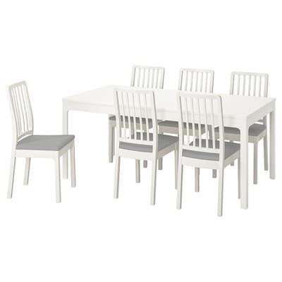 EKEDALEN / EKEDALEN Bord og 6 stoler, hvit/Orrsta lys grå, 180/240 cm