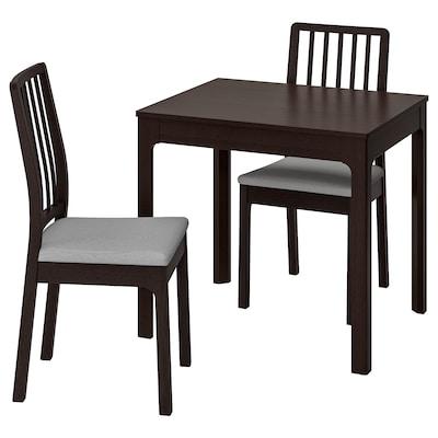 EKEDALEN / EKEDALEN bord og 2 stoler mørk brun/Orrsta lys grå 80 cm 120 cm