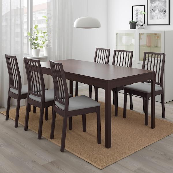 EKEDALEN Uttrekkbart bord, mørk brun, 180/240x90 cm