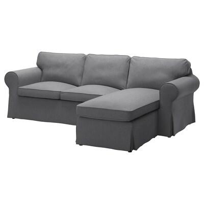 EKTORP 3-seters sofa med sjeselong/Nordvalla mørk grå 252 cm 88 cm 88 cm 163 cm 45 cm