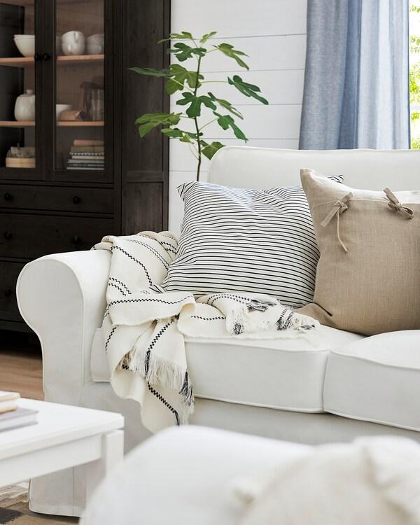 EKTORP 3-seters sofa med sjeselong, Blekinge hvit