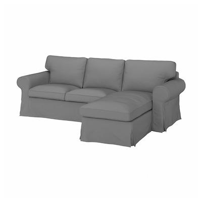 EKTORP 3-seters sofa med sjeselong, Remmarn lys grå