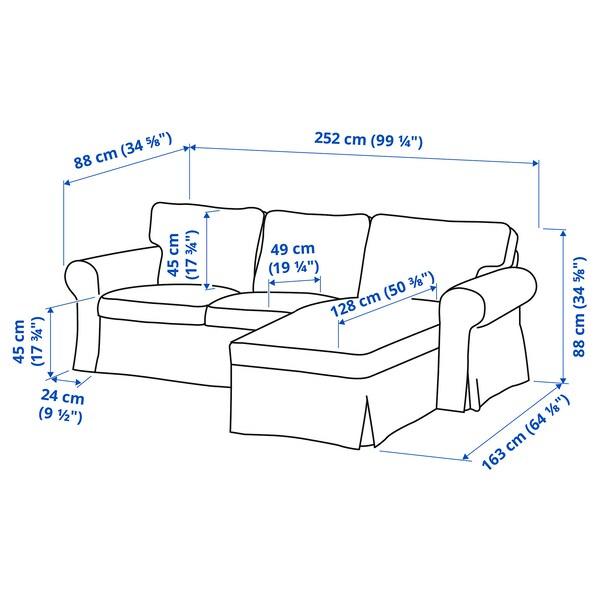 EKTORP 3-seters sofa, med sjeselong/Tallmyra hvit/svart/grå