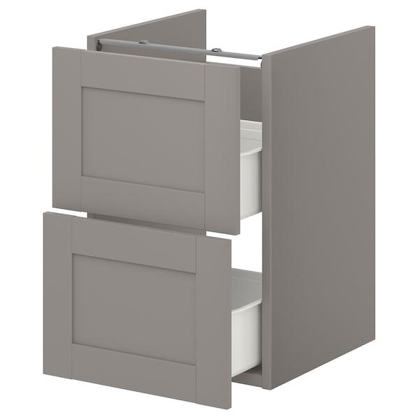 ENHET Benkeskap til servant, 2 skuffer, grå/grå ramme, 40x42x60 cm