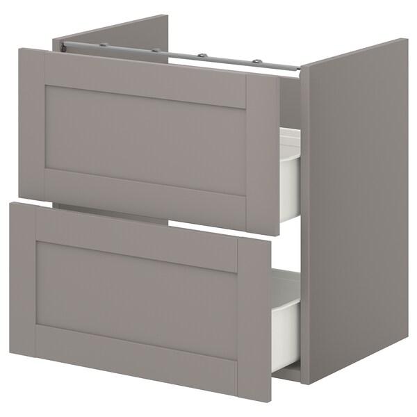 ENHET Benkeskap til servant, 2 skuffer, grå/grå ramme, 60x42x60 cm