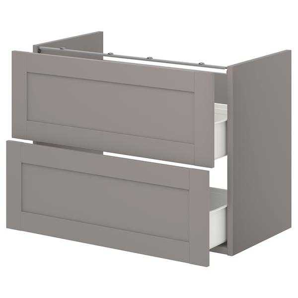 ENHET Benkeskap til servant, 2 skuffer, grå/grå ramme, 80x42x60 cm