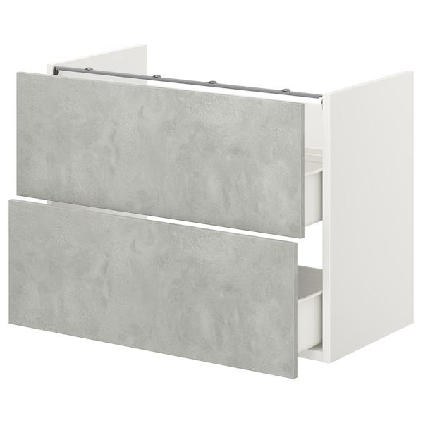 ENHET Benkeskap til servant, 2 skuffer, hvit/betongmønstret, 80x42x60 cm