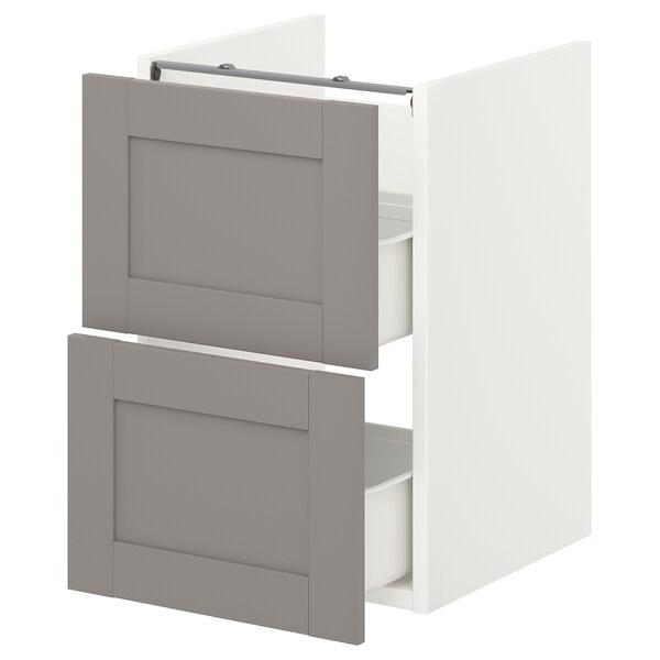 ENHET Benkeskap til servant, 2 skuffer, hvit/grå ramme, 40x42x60 cm