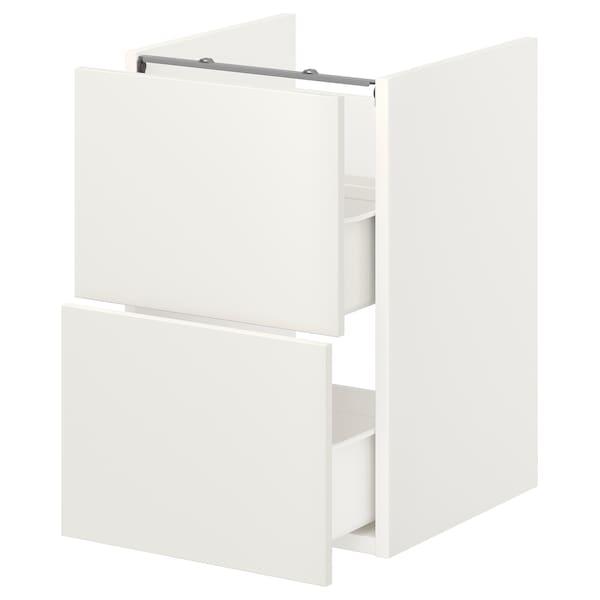 ENHET Benkeskap til servant, 2 skuffer, hvit, 40x42x60 cm