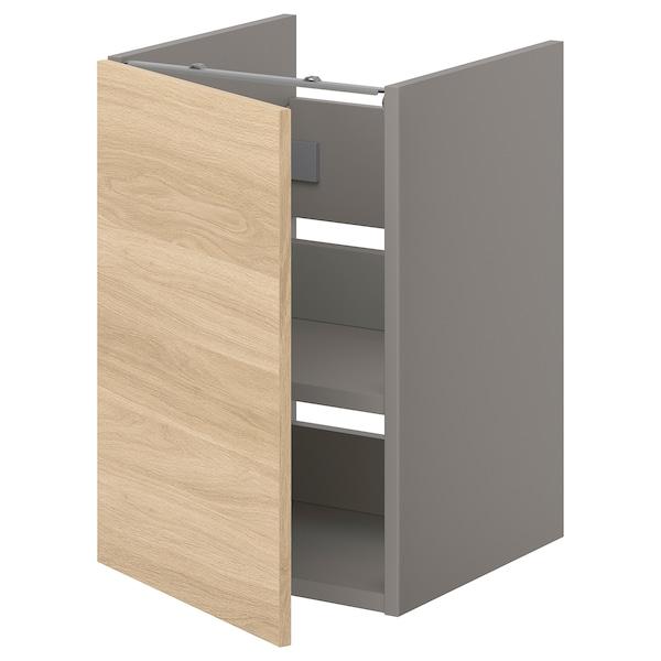 ENHET Benkeskap til servant, hylle/dør, grå/eikemønstret, 40x42x60 cm
