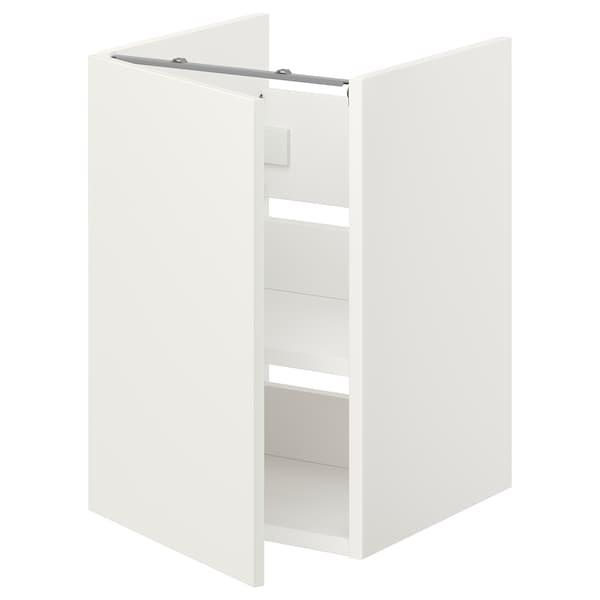 ENHET Benkeskap til servant, hylle/dør, hvit, 40x42x60 cm