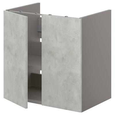 ENHET Benkeskap til servant, hylle/dører, grå/betongmønstret, 60x42x60 cm