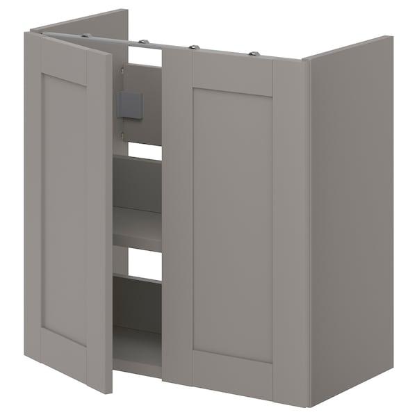 ENHET Benkeskap til servant, hylle/dører, grå/grå stamme, 60x32x60 cm
