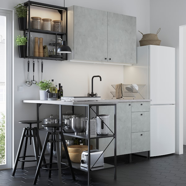 ENHET Hjørnekjøkken, antrasitt/betongmønstret