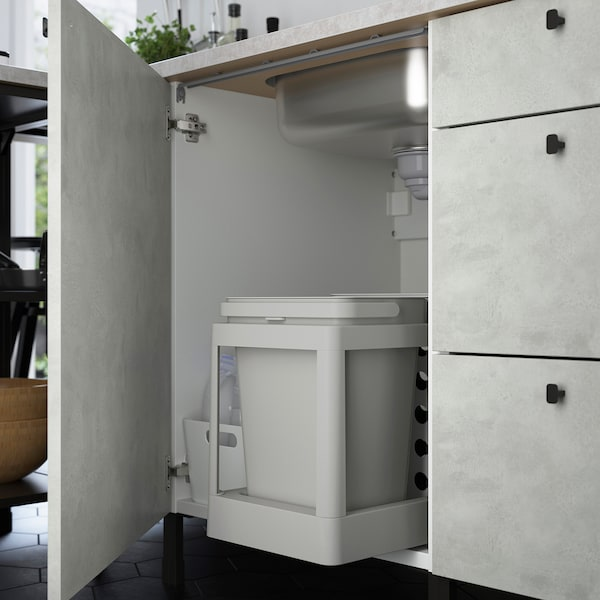 ENHET Hjørnekjøkken, hvit/betongmønstret