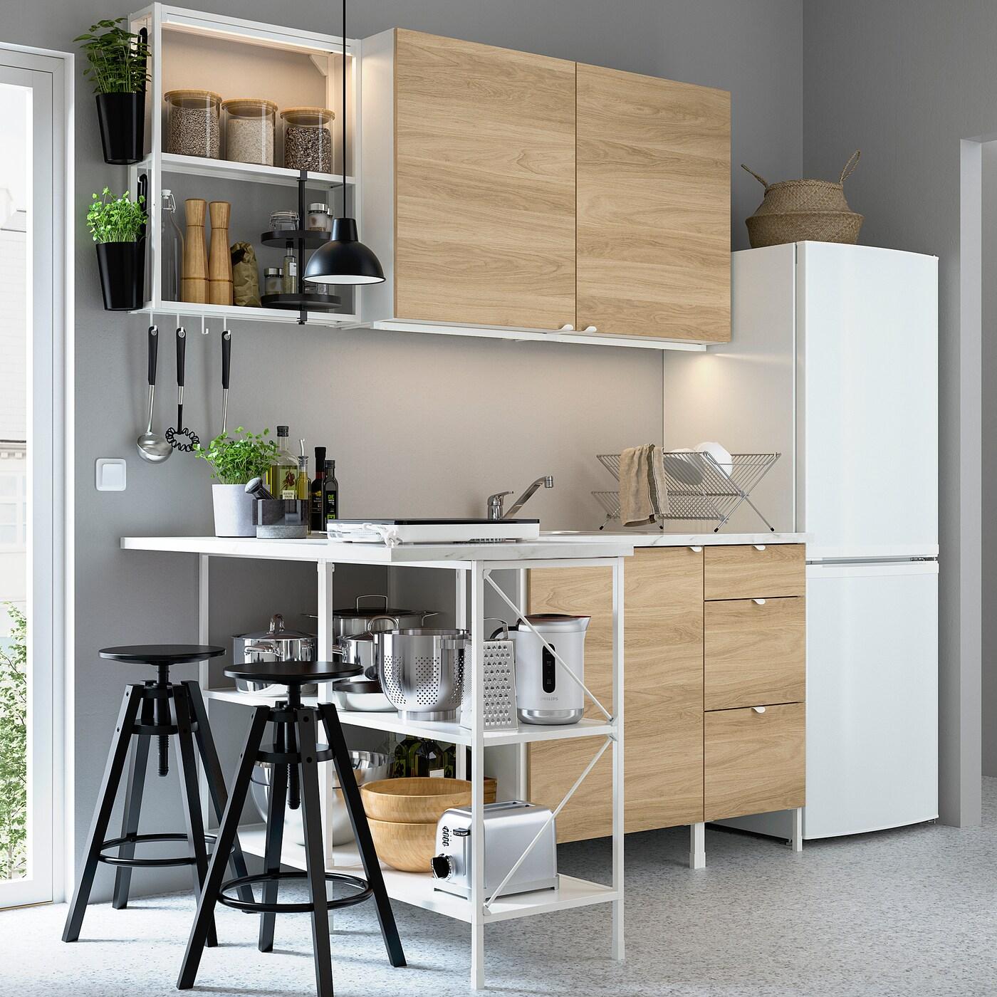 ENHET Hjørnekjøkken, hvit/eikemønstret