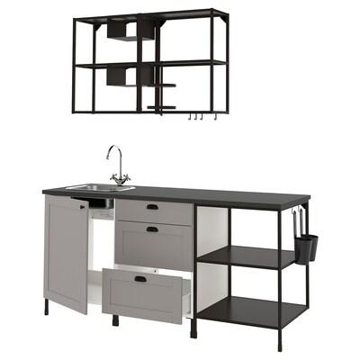 ENHET Kjøkken, antrasitt/grå ramme, 183x63.5x222 cm