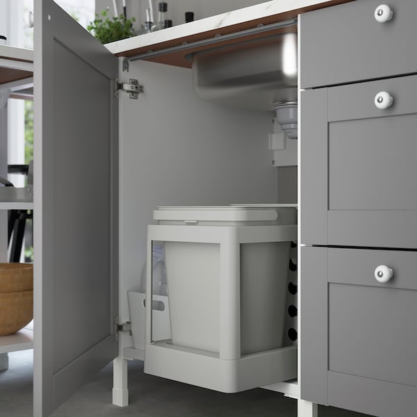 ENHET Kjøkken, antrasitt/grå ramme, 203x63.5x222 cm