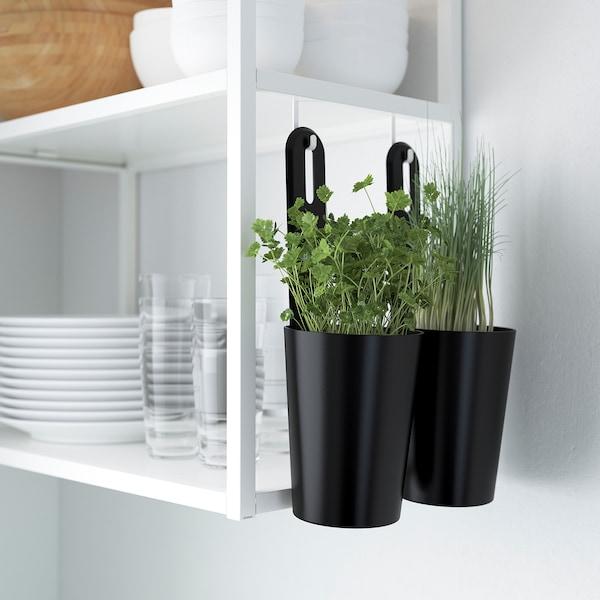 ENHET Kjøkken, hvit/grå ramme, 163x63.5x222 cm