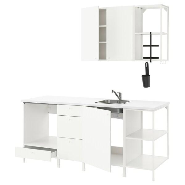 ENHET Kjøkken, hvit, 203x63.5x222 cm