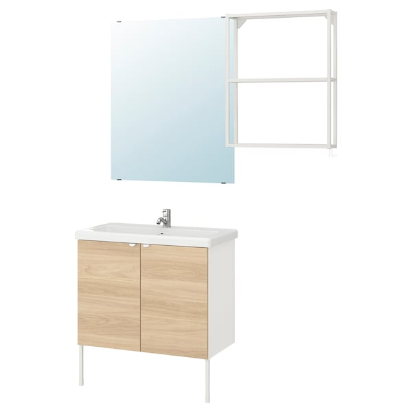 ENHET / TVÄLLEN Baderomsmøbler, 11 deler, eikemønstret/hvit Pilkån blandebatteri, 84x43x87 cm