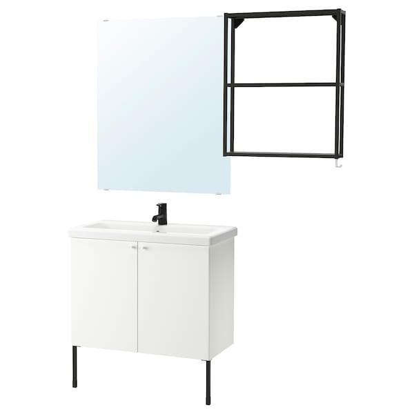 ENHET / TVÄLLEN Baderomsmøbler, 11 deler, hvit/antrasitt SALJEN blandebatteri, 84x43x87 cm